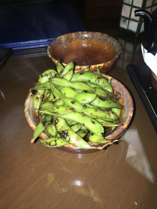 Spicy edamame at Agave Azul