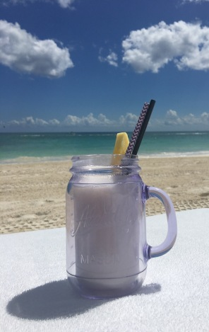 Pina colada in an insulated Mason jar