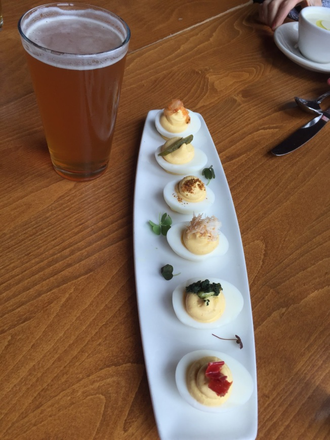 Deviled eggs with the chef's choice of toppings, including smoked trout, crab and caviar -- at Matt's In The Market, Seattle