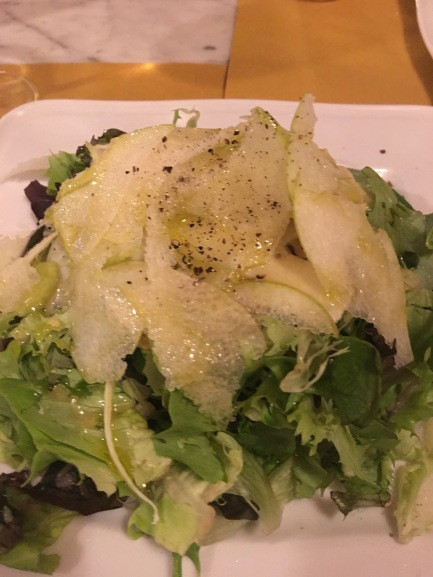 Shaved pear and hazlenut salad
