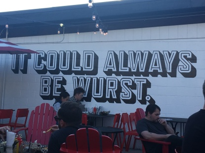 Outdoor patio at Op Wurst