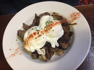 Steak-and-Onion Hash at Slappy Cakes, Portland